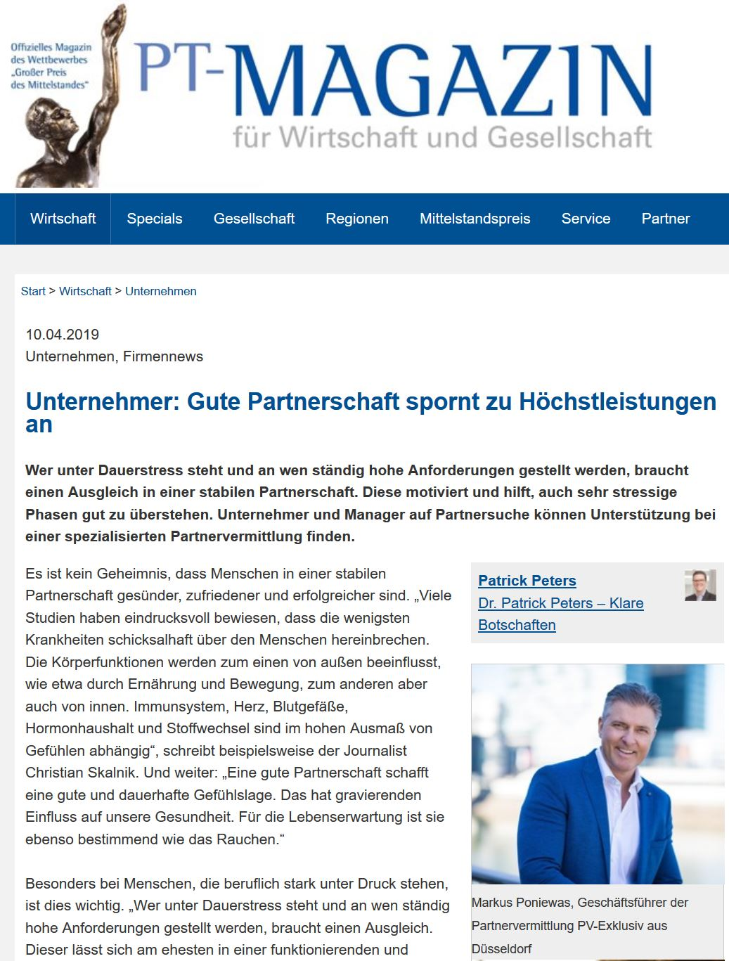 Partnervermittlung unternehmer